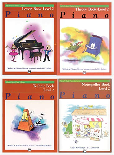 NEW Alfred's Basic Piano Library Level 2 Four Books Set - Lesson 2, Theory 2, Technic 2 and Notespeller 2