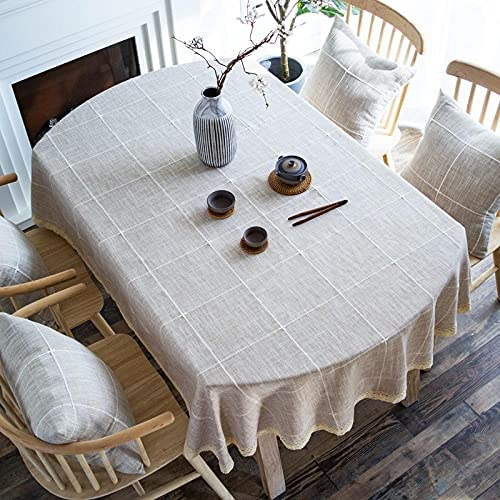 XQSSB Mantel Mesa Rectangular Antimanchas Cubremesa Resistente Al Desgaste Suave para de Hogar Picnic del Hotel Tienda de Café Color Café a Ovalado 135 × 185cm