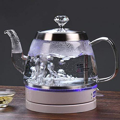 XJJZS La luz Azul LED Digital 1.0L Cristal Hervidor 2200W té café Hervidor Olla con Control de Temperatura y función for Mantener Caliente