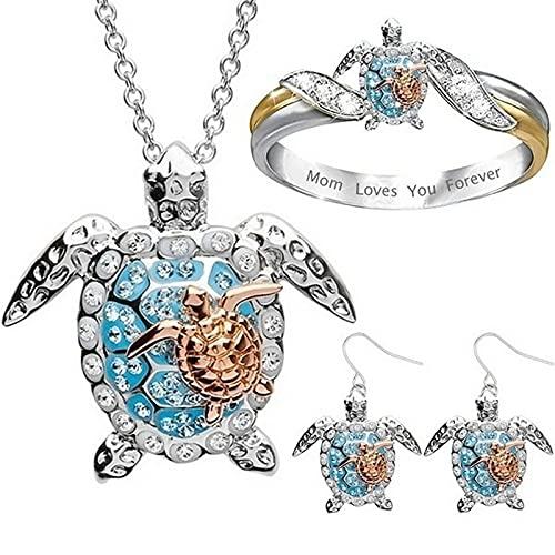 YANGYUE Collar con Colgante de Tortuga Vintage para Mujer, Collar de Tortuga de Diamantes de imitación de Playa de Metal, Accesorios de joyería Unisex de Moda