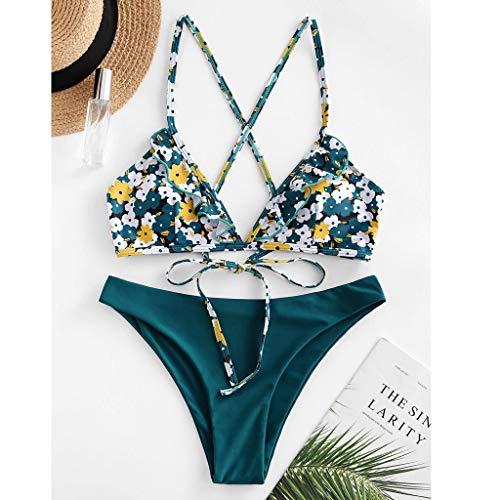 Dicomi Women's Bikini Set Summer Fashion Floral Strap Ruffle High Cut Bandage Two Piece Swimsuit Green