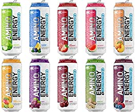 Optimum Nutrition Amino Energy Plus Electrolytes Sparkling Hydration Drink, Keto Friendly BCAAs Variety Sampler (10)