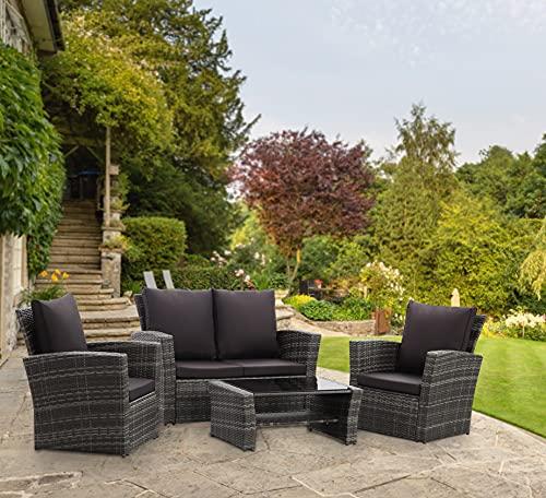 GOODS EMPORIUM 4 Piece Rattan Garden Furniture Set - 4 Seater - Indoor, Outdoor, Patio, Conservatory Sofa & Table