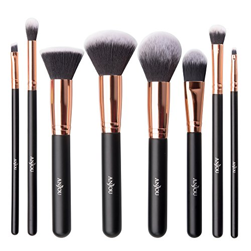 Make Up Pinsel, Anjou 8-teiliges Professionelles Schminkpinsel Kosmetikpinsel Set, helles Rosegold x...
