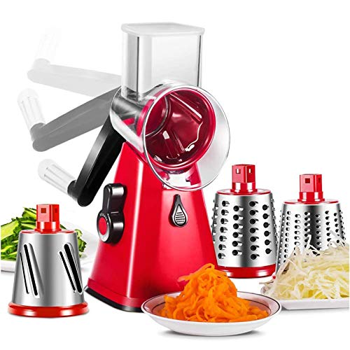 ZXYWW 3 in 1 Vegetable Chopper, Manual Mandoline Slicer Rotary Drum Grater with 3 Blades, Fruit Cutter Cheese Grater Best Kitchen Tool