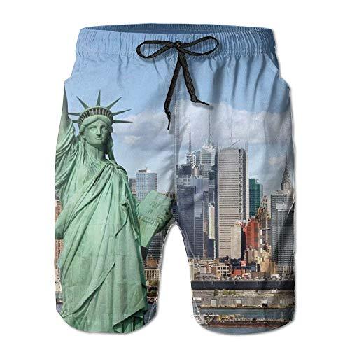 Generic Freiheitsstatue In Hong Kong Muster Männer/Jungen Casual Schnelltrocknende Badeanzüge Elastische Taille Strandhose Mit Taschen,L