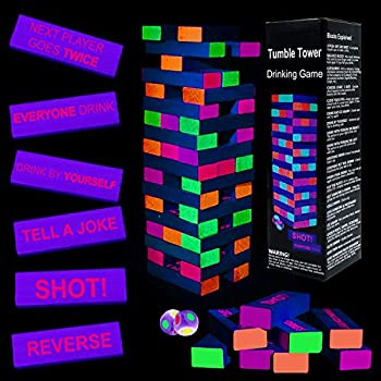 Black Light Tumble Tower -Glowing Blocks Tumble Tower Suitable for Day Or Night 54 Blocks with Hilarious Drinking Commands and Games on 45 of Them Games Stacking Games or Games for Adults Party