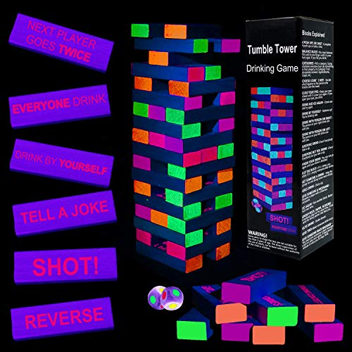 Black Light Tumble Tower -Glowing Blocks Tumble Tower Suitable for Day Or Night, 54 Blocks with Hilarious Drinking Commands and Games on 45 of Them, Games Stacking Games or Games for Adults Party