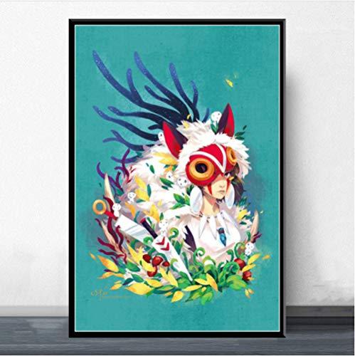 ARTMERLOD Affiches Princesse Mononoke Ghibli Toile Peinture Dessin animé Japon Anime Affiche Imprime Mur Art Peinture Chambre décor Pas de Cadre 50X70Cm