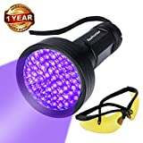 UV Black Light Flashlight, Super Bright 68 LED #1 Best Pet Dog Cat Urine Detector light Flashlight for Dry Pet Urine Stains, UV Blacklight Flashlight with UV Sunglasses for Bed Bugs Scorpions (68 led)