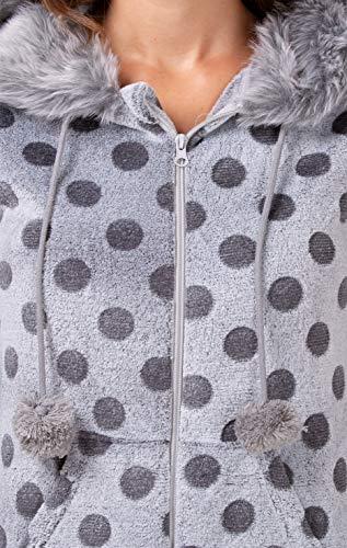 maluuna - Damen Fleece-Onesie mit Bündchen an Arm- und Beinabschluss, extrem kuscheliger Damen Jumpsuit, Overall mit Fell, Einteiler, Homewear, Farbe:grau, Größe:40/42 - 3