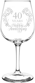 (40th) Beautiful & Elegant Floral Happy Anniversary Wedding Ring Inspired - Laser Engraved 12.75oz Libbey All-Purpose Wine Taster Glass