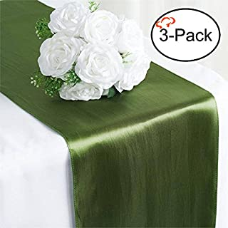 Tiger Chef 3-Pack Moss Green 12 x 108 inches Long Satin Table Runner for Wedding, Table Runners fit Rectange and Round Table Decorations for Birthday Parties, Banquets, Graduations, Engagements