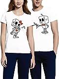 VIVAMAKE Pack 2 Camisetas para Mujer y Hombre Originales con Diseño Robots Love