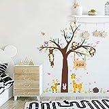 Cartoon Animals Wall Decals Jungle Animals Wall Stickers for Nursery, Monkey Giraffe Owl Woodland Animals Wall Murals Removable Wallpaper for Kids Room Boys Bedroom