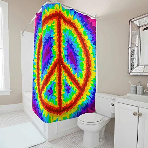 Dofeely douchegordijn Peace Love patroon waterdicht ontwerp gordijn badkuipgordijn met gordijnhaken