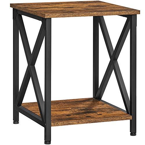 VASAGLE Beistelltisch, Nachttisch, X-förmige Streben, Stahlgestell, mit 2 Ebenen, 40 x 40 x 50 cm, Industrie-Design, vintagebraun-schwarz LET277B01