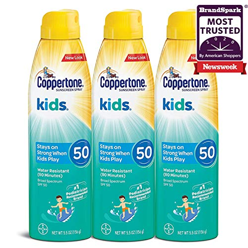 Coppertone KIDS Sunscreen Continuous Spray SPF 50 55 Ounce Pack of 3