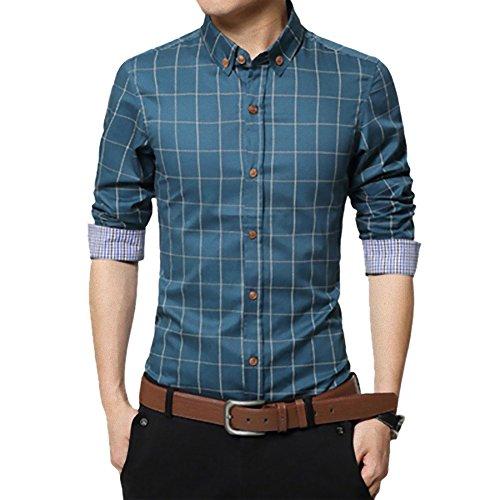 チェック ワイシャツ メンズ カジュアル 人気 かっこいい スレンダー お洒落 ボタンダウン 長袖 スリム yシ...