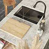 Bar Sink, TORVA 14-Inch Gloss Black Workstation Undermount Single Bowl Kitchen Sink, 16 Gauge Stainless Steel with Ceramic Coating and NanoTek Bar or Prep Sink with Bamboo Cutting Board