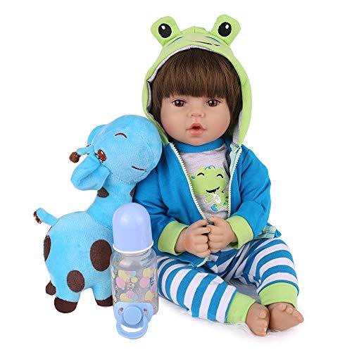 CHAREX Realistic Reborn Baby Dolls Lifelike Weighted Reborn Boy 18 inch Toddler Soft Body Toy Giraffe Gift Set