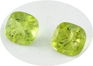 Joyas Plata 1PC Genuine Green Peridot Faceted 7x7 mm Cushion Shape pretty Quality Loose Gemstone JP- STPERFCCU-7x7-us