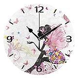 ALAZA Reloj de Pared Redondo silencioso de 25 cm, de mármol Blanco, sin tictac, para Sala de Estar, Cocina, Oficina, decoración con Soporte de Escritorio, plástico, Ilustración 010, 25cm Round
