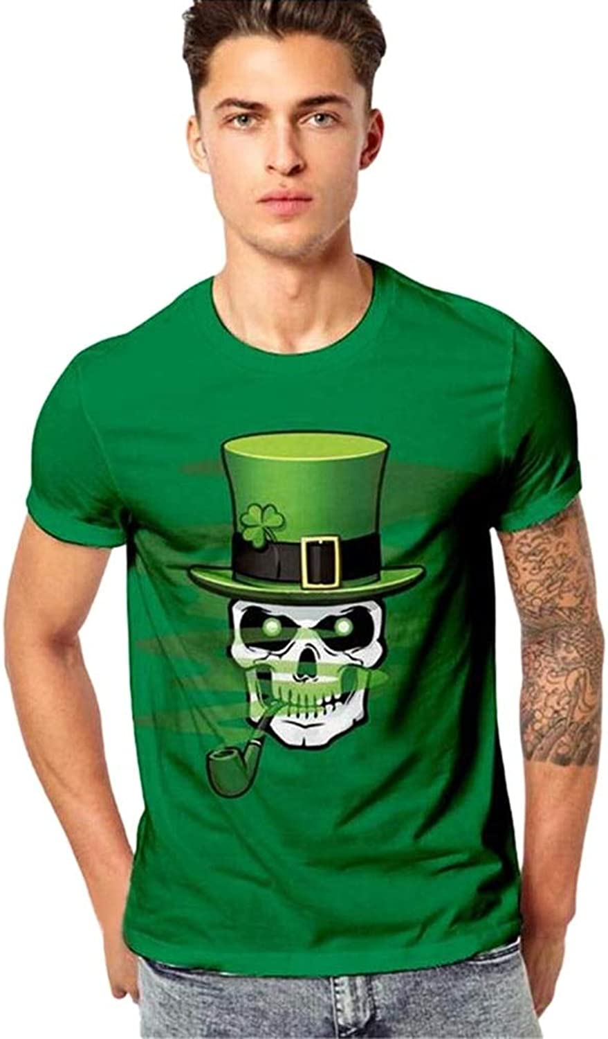 DUXIGJCD Fashion Mens Shirt 3D Print Casual Polyester ONeck St. Patrick's Day ShortSleeved Green Male Shirt Slim Designs