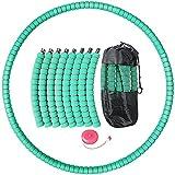 Hula Fitness Reifen Hoop Erwachsene, Exercise Reifen Hoop vot 1kg bis 3,2kg Gewichtsverlust Schlankheits Kreis Edelstahlkern mit Schaumstoff, 8 Abnehmbare Hoola Hoop mit Mini Bandmaß & Tasche