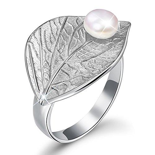 JAINGYUYAN Damen Ring Blätter mit Süßwasserperle Offener Ring S925 Sterling Silber Handgemachte Ringe für Frauen und Mädchen. (Silver)