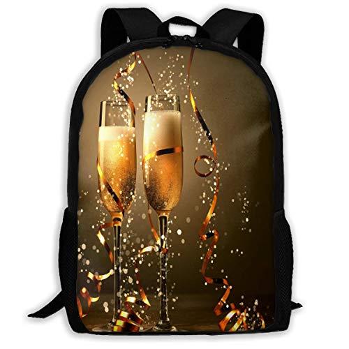 Happy New Year Cheers Beer Premium Reiserucksack, wasserabweisend, Big Business College Schule Bookbag Daypack, Rucksack, Laptop-Tasche für Herren und Damen