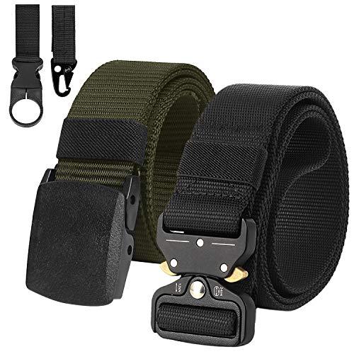 2 Piezas Cinturón Hombre Táctico Militar Correa de Nylon Ajustable Lona Hebilla Plástica y Hebilla Metal (Z3-Negro+Verde*2 Hebillas(Metal + Plástico))