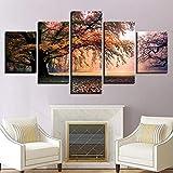 ganlanshu Pintura sin Marco Arte de la Pared Pintura 5 Piezas de árboles de otoño Grupo póster Bosque árbol Grande HD Imprimir decoración del hogar ZGQ5413 20x35cmx2, 20x45cmx2, 20x55cmx1
