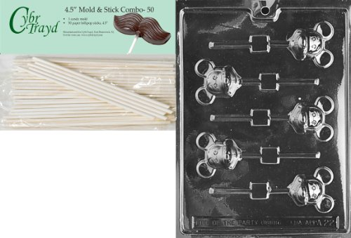 Cybrtrayd 45St50-A022 Mouse Lolly Mickey Animal Chocolate Candy Mold with 50 4.5-Inch Lollipop Sticks