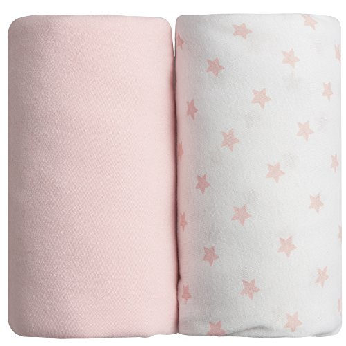 Lot de 2 draps housse rose uni + étoilé Babycalin - 70 x 140 cm