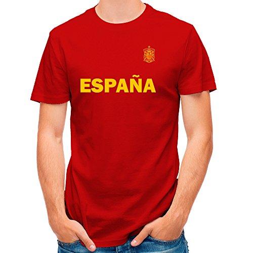 LolaPix Camiseta España Personalizada con tu Nombre y Dorsal | Selección Española | Varios Diseños Tallas | 100% Algodón | Hombre | Roja