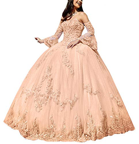 Meowmming Women's Off Shoulder Long Sleeves Quinceanera Dresses Sweetheart Appliqued Prom Ball Gown Apricot
