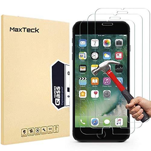 MaxTeck iPhone 7Plus/8 Plus Displayschutzfolie, 0,26mm 9H gehärtetes Glas, 14cm (5,5 Zoll), 3D-Touch-kompatibel, 3 Stück