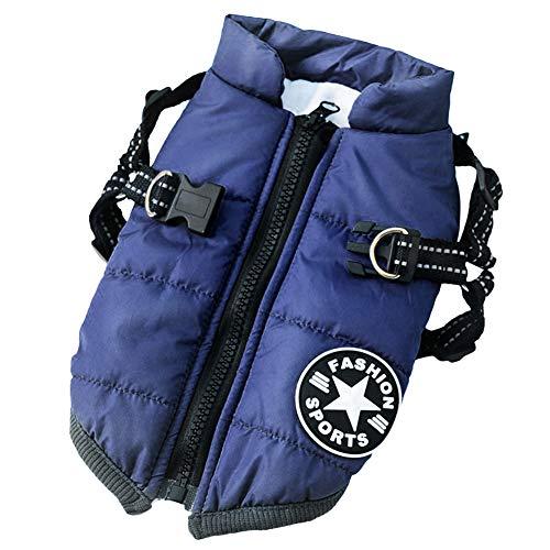 Aiboria, giacca invernale per cani, antivento e impermeabile, 2 in 1, abbigliamento invernale per cuccioli, giacca calda per cani (S, blu)