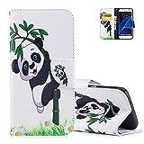 Aeeque Blanc Coque pour Samsung Galaxy S7 Edge (SM-G935) avec Motif Cute Panda et Bambou Design Etui en Cuir PU Souple et Lisse...