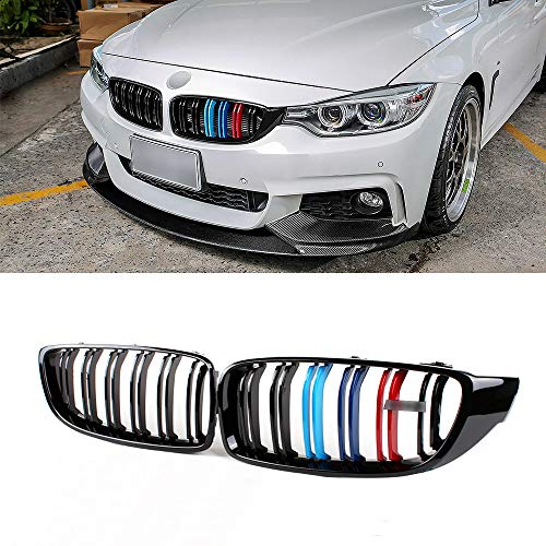 SNA M Color Front Kidney Grill for BMW 4 Series F32 F33 F36 (2014-2019) F82 F83 M4 F80 M3 (2015-2019) (Gloss Black Double Slats ABS Grille, 2-pc Set)