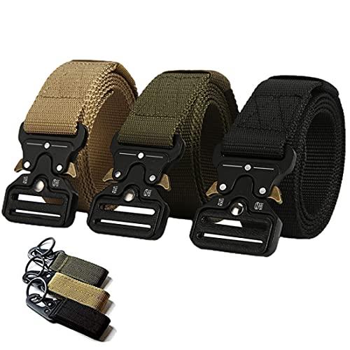"""BENBOR Cintura Tattica da 3 Pezzi con Fibbia in Metallo a sgancio rapido, Cinture in Nylon Stile Militare 51"""" x1,5, Cinture da Lavoro Pesanti per Uomo/Donna"""