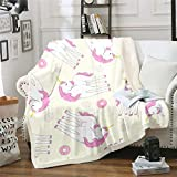 Loussiesd Manta de sherpa de unicornio para niñas, decoración de animales mágicos, manta de forro polar para cama, sofá, donas, manta de felpa, decoración ultra suave, cálida y difusa, 150 x 152 cm