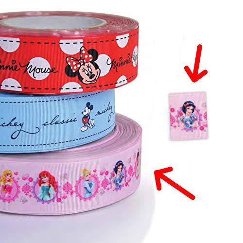 Dream\' s Party 1 Metro - Nastro GIROTORTA in Tessuto Principesse Disney - Colore Rosa con Biancaneve, Aurora, Ariel, Belle, Cenerentola, Tiana - Decorazione Torte e Dolci