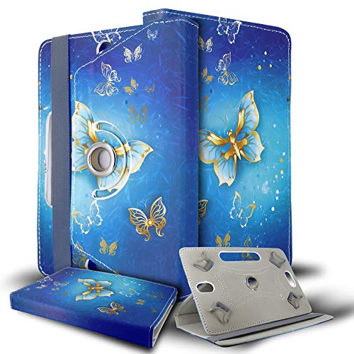 Universal 8.0 inch Tablet Case, Multi-Angle Stand Flip Printed Wallet Case Fits All 8.0' Inch Samsung, Lenovo, Acer, Huawei, Sony, Apple, Toshiba Android Tablets tab devices (Butterfly Gold)
