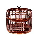 KUANDARM Handmade Bird Cages Retro Bamboo Travel Bird Carrier Parrot Home Villa Suitable for Bird Breeding, Brown