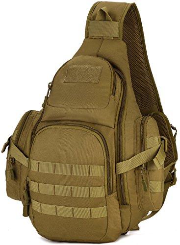DCCN Rucksack mit einem Gurt Crossbag Sling Bag Molle Sling Rucksack für Radfahren Wandern Camping Brown