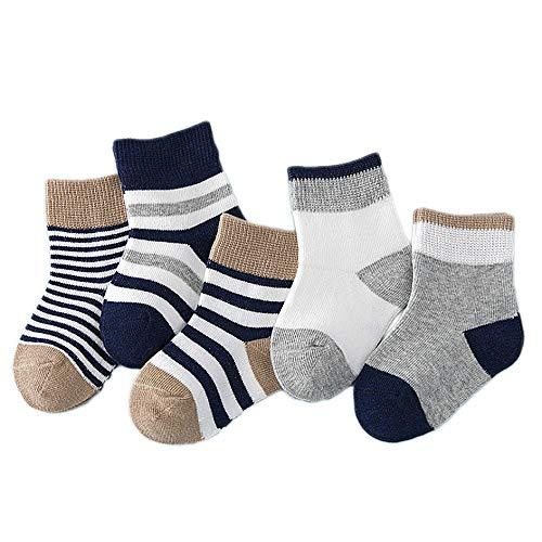 Vococal 5 Paires de Chaussettes Bébé Coton Souple Marine Chaussettes, Bébé Chaussettes pour Garçons Filles(Bleu B,0~1 ans)