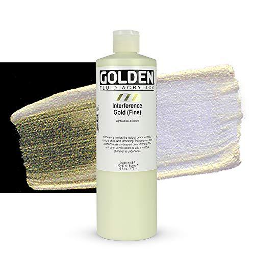 Golden Acrylic : 473ml (16oz) bottle FLUID GOLD FINE INTERFERENCE