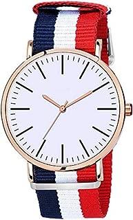 Analogue White Slim Dial Luxurious Blue/Red Fabric Strape Fashion Men's Wrist Watch